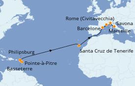 Itinéraire de la croisière Méditerranée 16 jours à bord du Costa Magica