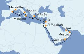Itinéraire de la croisière Méditerranée 22 jours à bord du Costa Diadema