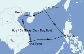 Itinéraire de la croisière Asie 11 jours à bord du Celebrity Solstice