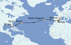 Itinéraire de la croisière Méditerranée 15 jours à bord du Carnival Pride
