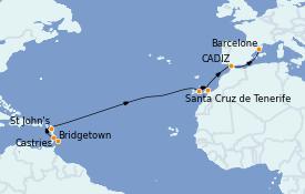 Itinéraire de la croisière Méditerranée 15 jours à bord du MS Sirena