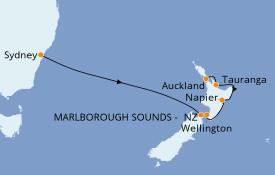 Itinéraire de la croisière Australie 2020 8 jours à bord du Golden Princess