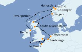 Itinéraire de la croisière Fjords & Norvège 15 jours à bord du Norwegian Jade