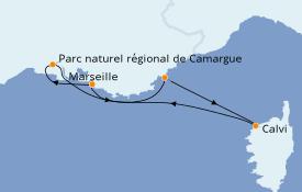 Itinéraire de la croisière Méditerranée 8 jours à bord du L'Austral