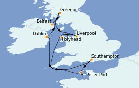 Itinerario de crucero Islas Británicas 11 días a bordo del Emerald Princess