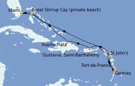 Itinéraire de la croisière Caraïbes de l'Est 11 jours à bord du Riviera