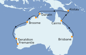 Itinéraire de la croisière Australie 2021 16 jours à bord du Sun Princess