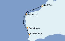 Itinéraire de la croisière Australie 2020 9 jours à bord du Sea Princess