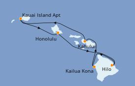 Itinéraire de la croisière Hawaii 6 jours à bord du Pride Of America