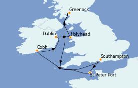 Itinéraire de la croisière Îles Britanniques 9 jours à bord du Crown Princess