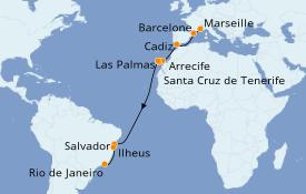 Itinéraire de la croisière Transatlantiques et Grands Voyages 2019 18 jours à bord du Costa Fascinosa
