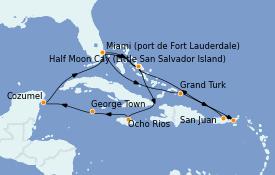 Itinéraire de la croisière Caraïbes de l'Est 15 jours à bord du ms Eurodam