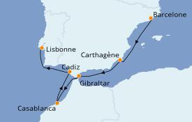 Itinéraire de la croisière Méditerranée 8 jours à bord du Seven Seas Explorer