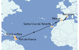 Itinerario de crucero Trasatlántico y Grande Viaje 2022 14 días a bordo del MSC Seaview