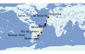 Itinéraire de la croisière Transatlantiques et Grands Voyages 2021 16 jours à bord du MSC Orchestra