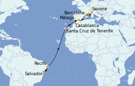 Itinerario de crucero Trasatlántico y Grande Viaje 2021 15 días a bordo del Costa Fascinosa