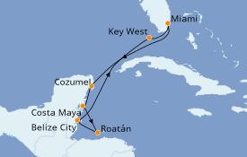 Itinéraire de la croisière Caraïbes de l'Ouest 9 jours à bord du Empress of the Seas