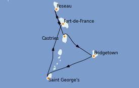 Itinéraire de la croisière Caraïbes de l'Est 8 jours à bord du Grandeur of the Seas