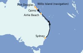 Itinéraire de la croisière Australie 2022 10 jours à bord du Carnival Splendor