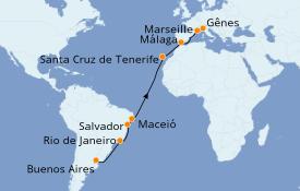 Itinéraire de la croisière Transatlantiques et Grands Voyages 2022 19 jours à bord du Costa Pacifica
