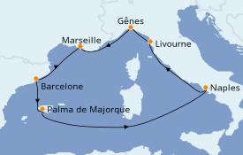 Itinéraire de la croisière Méditerranée 8 jours à bord du MSC Seaside