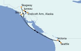 Itinéraire de la croisière Alaska 8 jours à bord du Quantum of the Seas