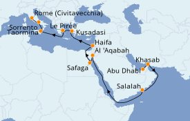 Itinéraire de la croisière Méditerranée 22 jours à bord du Seven Seas Mariner