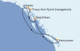 Itinéraire de la croisière Alaska 7 jours à bord du Celebrity Millennium