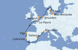 Itinéraire de la croisière Méditerranée 12 jours à bord du Costa Fascinosa