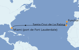 Itinéraire de la croisière Îles Canaries 12 jours à bord du Silver Dawn