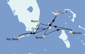 Itinéraire de la croisière Bahamas 8 jours à bord du MSC Armonia