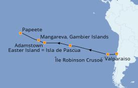 Itinéraire de la croisière Amérique du Sud 16 jours à bord du Silver Whisper