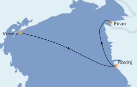 Itinéraire de la croisière Grèce & Adriatique 4 jours à bord du Royal Clipper