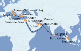 Itinéraire de la croisière Méditerranée 29 jours à bord du Regal Princess