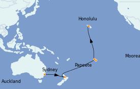 Itinéraire de la croisière Australie 2023 17 jours à bord du Radiance of the Seas