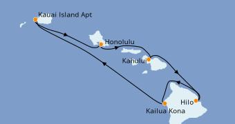 Itinéraire de la croisière Hawaii 8 jours à bord du Pride Of America