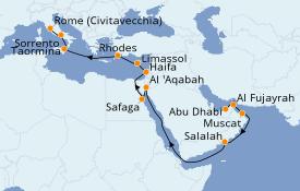 Itinéraire de la croisière Dubaï - Emirats 21 jours à bord du Seven Seas Voyager
