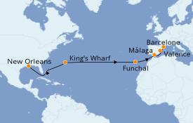 Itinéraire de la croisière Méditerranée 16 jours à bord du Carnival Valor