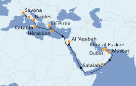 Itinéraire de la croisière Dubaï - Emirats 23 jours à bord du Costa Diadema