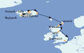 Itinéraire de la croisière Îles Britanniques 13 jours à bord du Silver Whisper