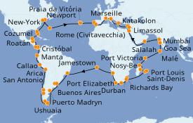 Itinéraire de la croisière Tour du Monde 2021 114 jours à bord du Costa Deliziosa