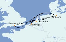 Itinerario de crucero Mar Báltico 10 días a bordo del Queen Mary 2