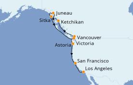 Itinerario de crucero Alaska 13 días a bordo del Seven Seas Mariner
