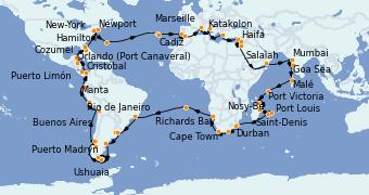 Itinéraire de la croisière Tour du Monde 2023 115 jours à bord du Costa Deliziosa