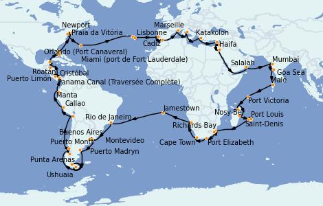 Itinéraire de la croisière Tour du Monde 2023 114 jours à bord du Costa Deliziosa