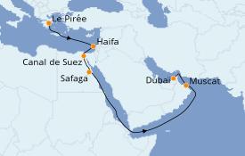 Itinéraire de la croisière Mer Rouge 17 jours à bord du Silver Moon