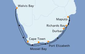 Itinéraire de la croisière Afrique 16 jours à bord du Seven Seas Voyager