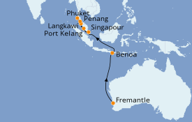 Itinéraire de la croisière Australie 2021 13 jours à bord du Sun Princess