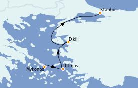 Itinéraire de la croisière Grèce & Adriatique 8 jours à bord du Star Clipper