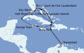 Itinéraire de la croisière Bahamas 15 jours à bord du ms Nieuw Statendam